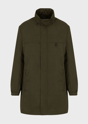 Emporio Armani Travel Essentials Packable Trench Coat In Japanese Technical Twill