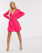 Club L London plunge neck belted blazer dress in neon pink
