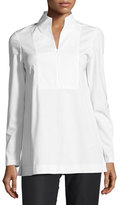 Lafayette 148 New York Marco Stretch-Cotton Blouse w/ Jersey Sleeves, White