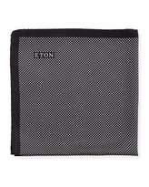Eton Polka-Dot Silk Pocket Square, Black