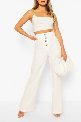 boohoo Button Front Pocket Side Woven Wide Leg Trouser