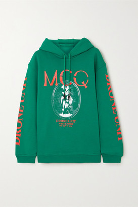 McQ Oversized Printed Cotton-jersey Hoodie - Green