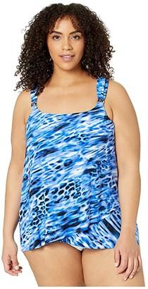 Miraclesuit Plus Size Lynx Lazuli Dazzle Top (Delphine Blue) Women's Swimwear