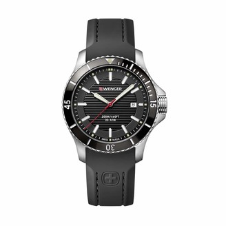 Wenger Men's Seaforce - Swiss Made Analogue Quartz Stainless Steel Black Silicone Strap Watch 01.0641.117