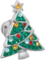 Silver Plated Crystal Christmas Tree Pin