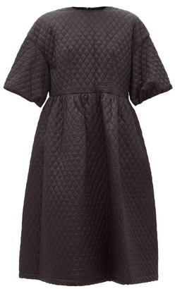 Noir Kei Ninomiya Puff-sleeve Matelasse Midi Dress - Black