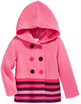 First Impressions Baby Girls' Double-Breasted Striped Hooded Sweater, Only at Macy's