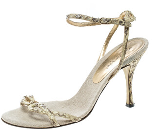 Dolce & Gabbana Cream Python Leather Ankle Strap Sandals Size 37.5