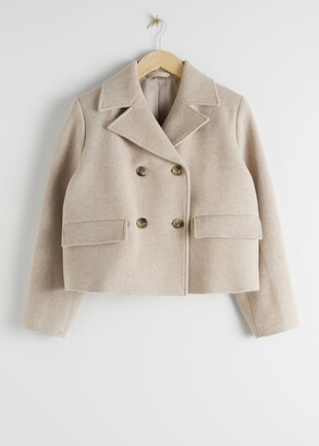 And other stories Cropped Double Breasted Wool Blend Jacket