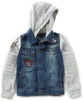 Lucky Brand Big Boys 8-20 Denim/French Terry Color Block Hooded Motorcycle Jacket