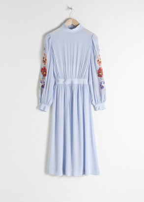 And other stories Sheer Floral Embroidered Midi Dress