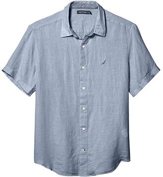 Nautica Short Sleeve Solid Linen Shirt (Blue 1) Men's T Shirt
