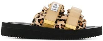 Suicoke animal pattern touch-strap slides