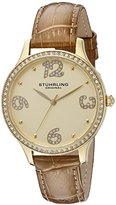 Stuhrling Original Women's Quartz Watch with Gold Dial Analogue Display and Gold Leather Strap 560.04