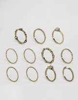 Asos Pack of 10 Etched Stone Ring Pack