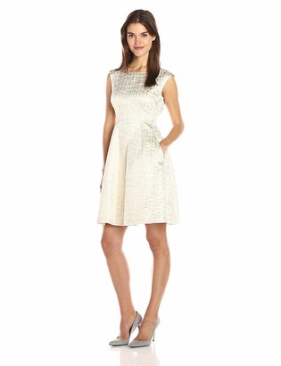 Anne Klein Women's Jacquard Inverted Pleat Fit & Flare