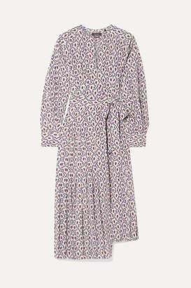 Isabel Marant Alexandra Asymmetric Pleated Silk-blend Crepe De Chine Wrap Dress - Blue