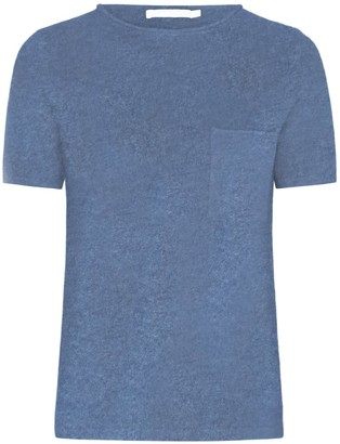 Les 100 Ciels Eira Cashmere Tee In Grey Blue