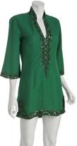 emerald linen diamond v-slit coverup tunic