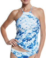 Seafolly Caribbean Ink Reversible High-Neck Tankini Swim Top, Blue/White