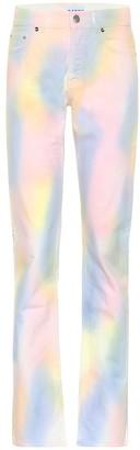 Ganni High-rise straight rainbow jeans