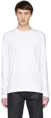Helmut Lang White Overlay Logo Long Sleeve T-Shirt