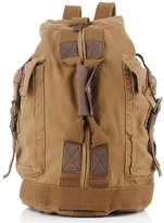 AUBIG S.C.Cotton New Vintage Canvas Leather Backpack Rucksack Bookbag Satchel Hiking Bag (Khaki)