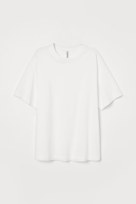 H&M Wide-cut Cotton T-shirt - White