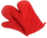 Vivoice Heat Resistant Kitchen Oven Mitts Baking gloves Quilted Flame Retardant Cotton Thick Terry Cloth Lining for Kitchen barbecue ,Set of 2 (red)