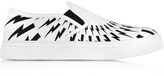 Neil Barrett White and Black Optic Printed Canvas Slip on Trainer