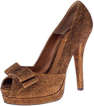 Fendi Brown Deco Textured Suede Peep Toe Bow Platform Pumps Size 39