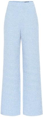 Balmain High-rise wide-leg tweed pants