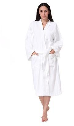 Acanva Women's & Men's Terry Robe Plush Cotton Spa Kimono Bathrobe - White, Medium