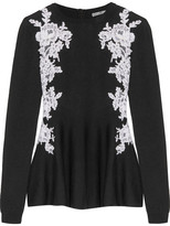 Oscar de la Renta Guipure Lace-paneled Merino Wool Peplum Sweater - Black