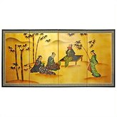 Oriental Furniture Asian Decor and Gifts, 36 by 72-Inch Ladies and Bamboo Chinese Brush Art Wall Screen Painting