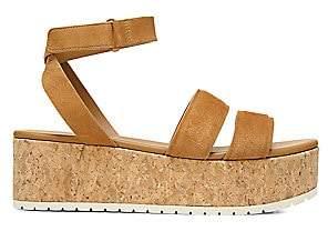Vince Women's Jet Suede Cork Wedge Platform Sandals