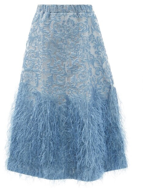 Thumbnail for your product : Ganni Feather-trim Brocade A-line Skirt - Mid Blue