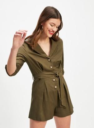 Miss Selfridge Khaki Utility Playsuit with Linen