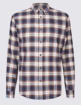 M&S Collection Brushed Cotton Checked Shirt