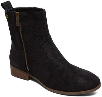 Roxy Women's Casual boots BLACK - Black Floral-Embossed Rojas Leather Ankle Boot - Women