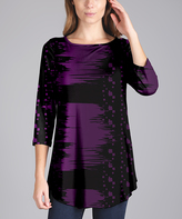 Lily Purple & Black Abstract Curved-Hem Tunic - Plus Too