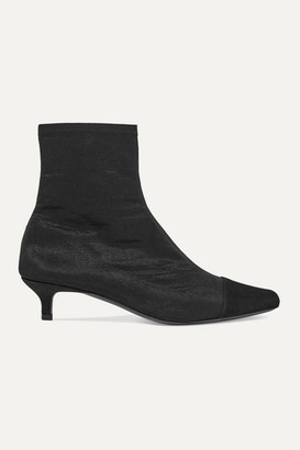 BY FAR Karl Suede-trimmed Stretch-satin Sock Boots - Black
