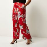 River Island Womens Plus red floral print wide leg trousers