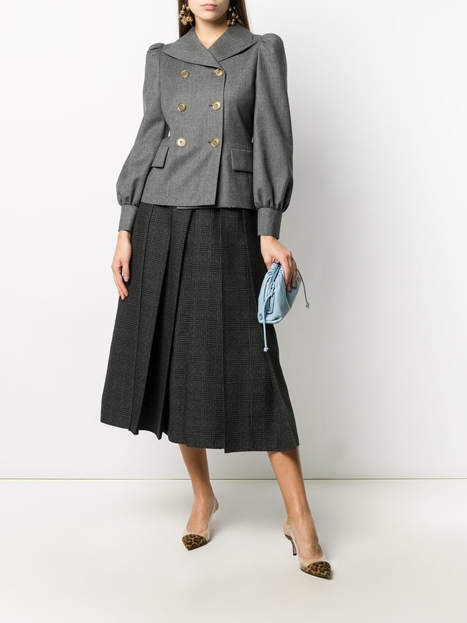 Thumbnail for your product : Fendi Check-Pattern Pleated Full Skirt