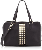 Gianfranco Ferre GF Studded Zip-Around Satchel Bag, Black