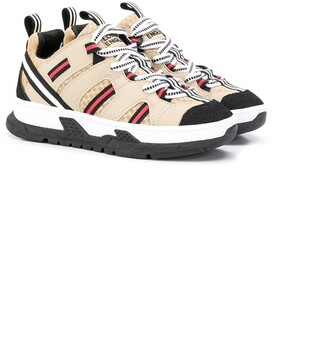 BURBERRY KIDS Low Top Striped Sneakers