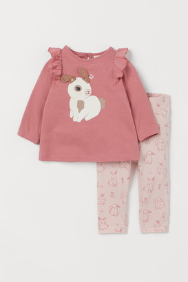 H&M 2-piece Jersey Set - Pink