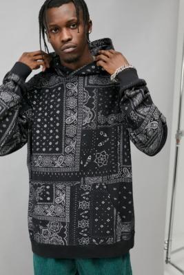 BDG Black Bandana Hoodie - Black S at Urban Outfitters