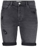 Topman Dark Grey Ripped Stretch Skinny Denim Shorts