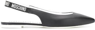Moschino Logo-Strap Slingback Ballerina Shoes